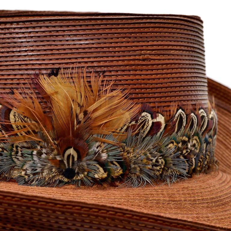 Patricia Underwood Vintage Hat in Brown Leather with Feather Trim For Sale 4