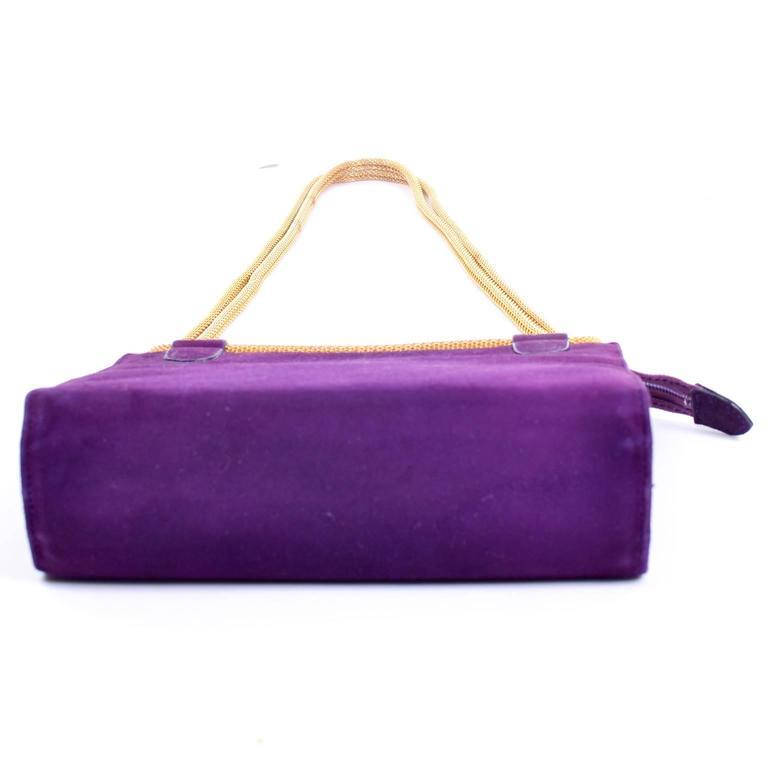 Women's Walter Steiger Vintage Purple Suede Handbag or Evening Bag With Gold Straps For Sale