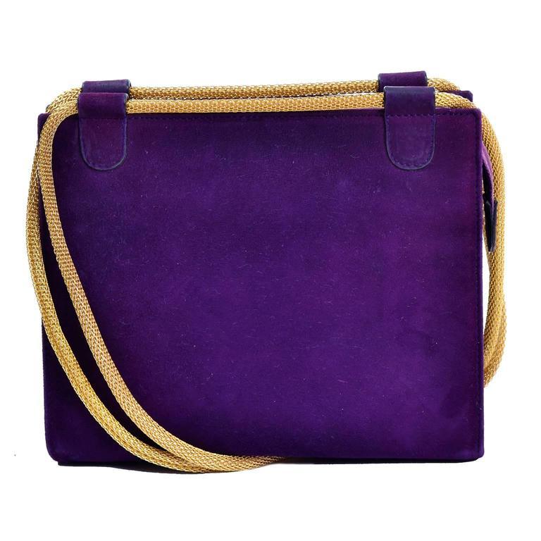Walter Steiger Vintage Purple Suede Handbag or Evening Bag With Gold Straps For Sale 1