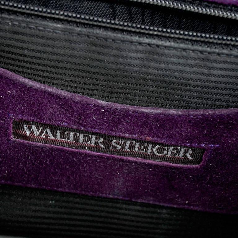 Walter Steiger Vintage Purple Suede Handbag or Evening Bag With Gold Straps For Sale 4