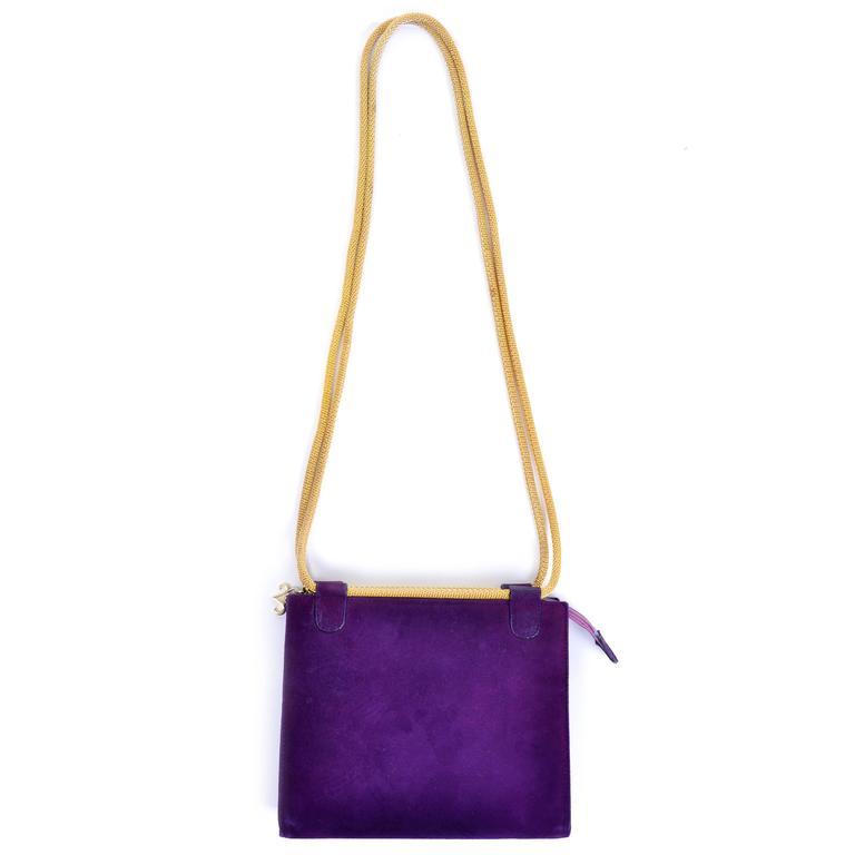 Walter Steiger Vintage Purple Suede Handbag or Evening Bag With Gold Straps In Excellent Condition For Sale In Portland, OR