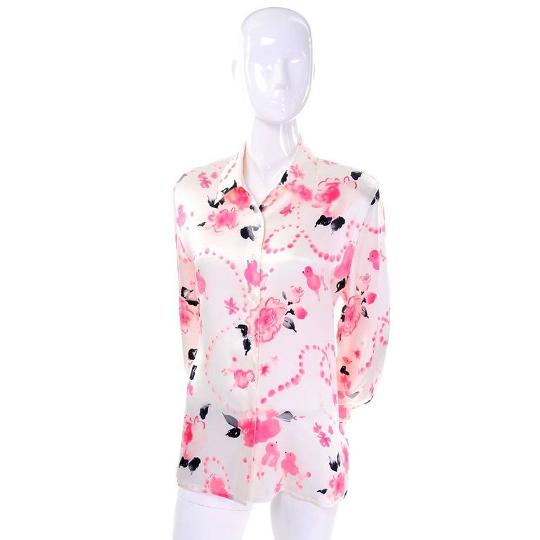 Escada Margaretha Ley Vintage Silk Pink and Black Poodle Blouse Size 38 In Excellent Condition For Sale In Portland, OR