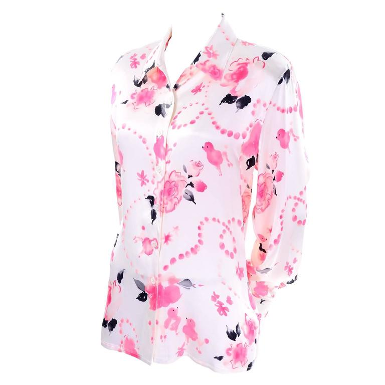 3070b979d53f Escada Margaretha Ley Vintage Silk Pink and Black Poodle Blouse Size 38 For  Sale