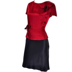 1990s Vintage Moschino Red and Black Color Block Dress W/ Mini Peplum and Flower