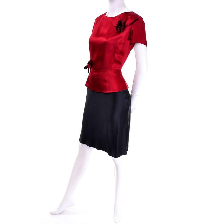 Vintage Moschino Red and Black Color Block Dress With Mini Peplum and Flower For Sale 1