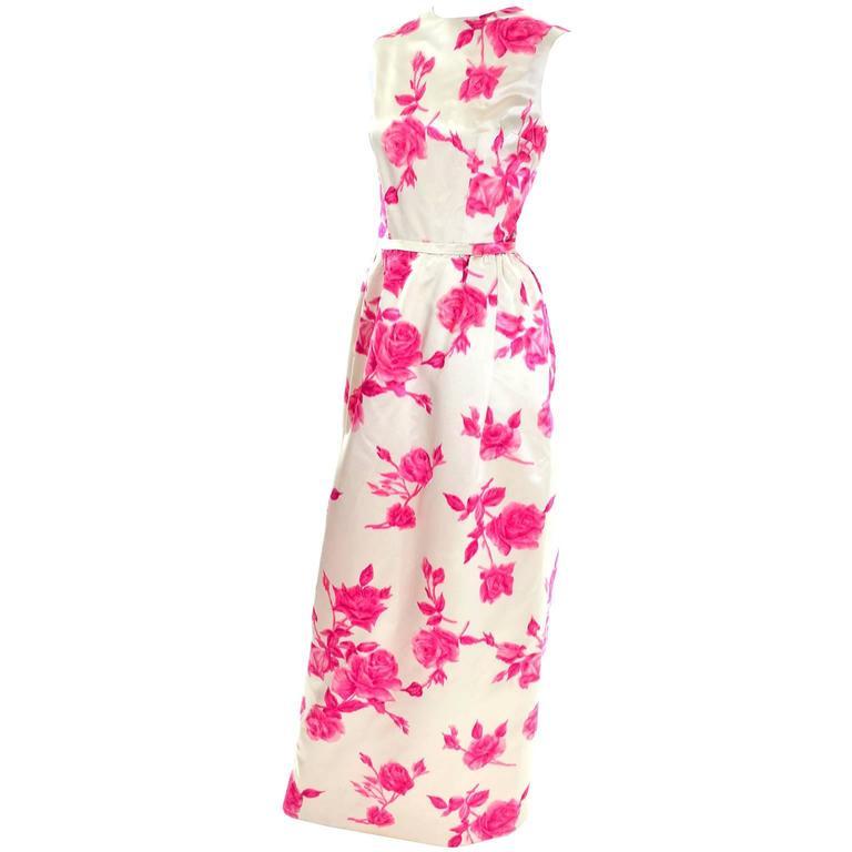b215ed0233e 1960s Vintage Dress Sleeveless in Cream Silk W Pink Velvet Flocked Roses    Belt For Sale