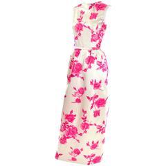 1960s Vintage Dress Sleeveless in Cream Silk W Pink Velvet Flocked Roses & Belt