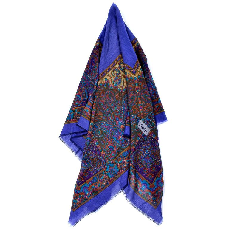 fce2fda4068 Yves Saint Laurent YSL Vintage Wool Challis Oversized Russian Inspired Scarf  For Sale