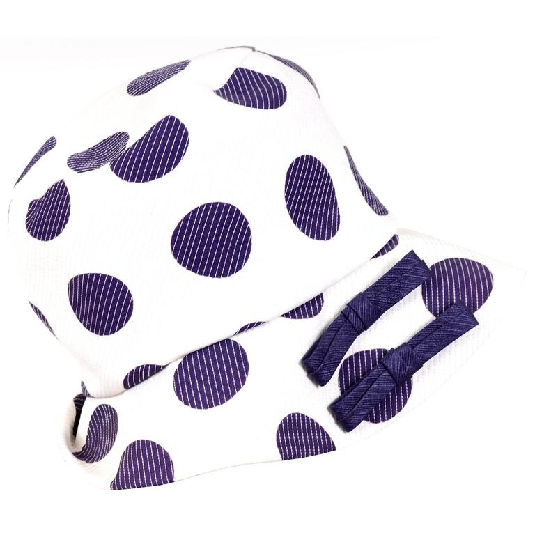Josie 1960s Mod Vintage Hat White With Navy Blue Polka Dots