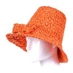 Tall 1960s Orange Raffia Straw Vintage Sun Hat With Bow