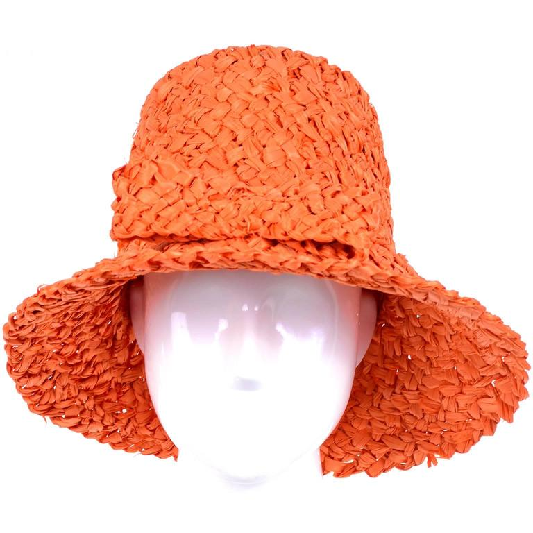 Tall 1960s Orange Raffia Straw Vintage Sun Hat With Bow 2