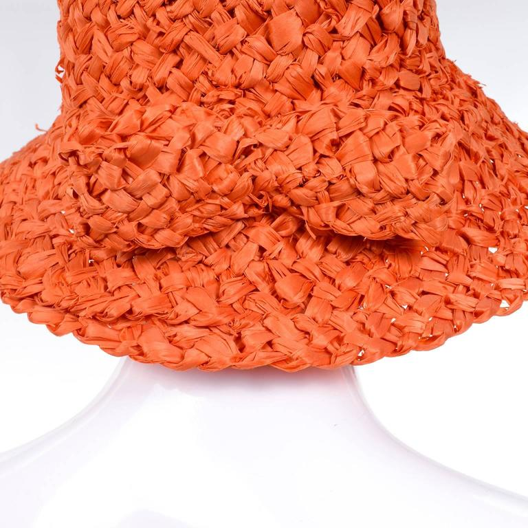 Tall 1960s Orange Raffia Straw Vintage Sun Hat With Bow 3