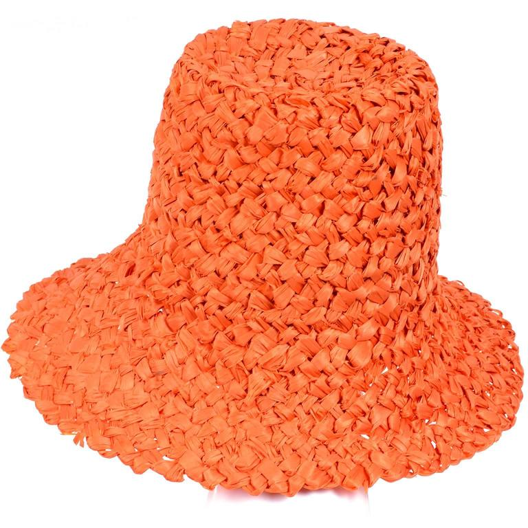 Tall 1960s Orange Raffia Straw Vintage Sun Hat With Bow 5