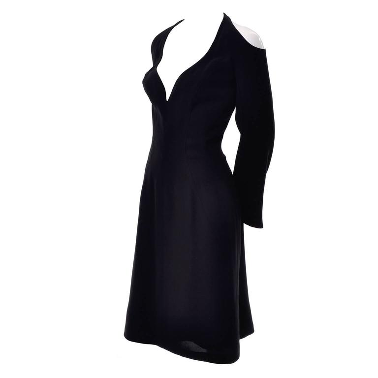 Vintage Thierry Mugler Couture Black Dress w/ Deconstructed Exposed Shoulders