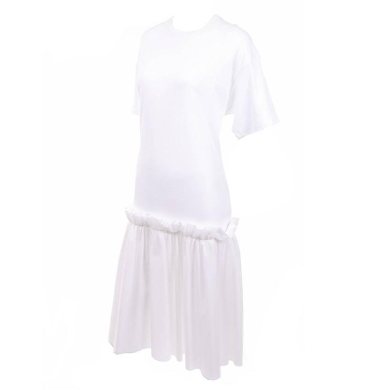 Simone Rocha Ikram White Cotton T Shirt Dress With Tulle Overlay and Ruffles
