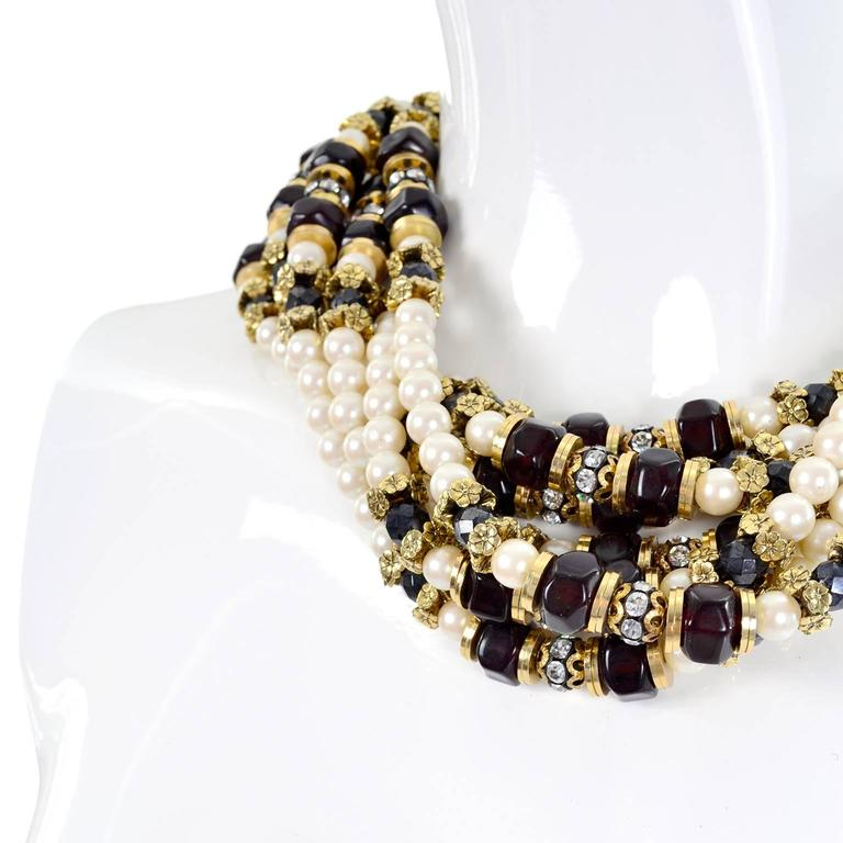 Vintage Multi Strand Pearl Necklace with Hand Clasp and Rhinestones In Excellent Condition For Sale In Portland, OR
