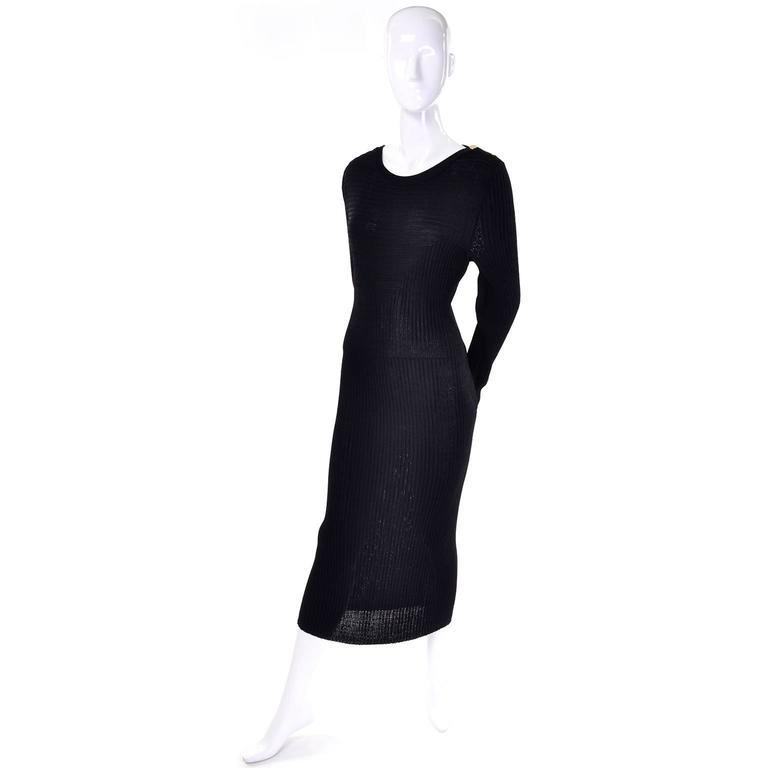 Women's 1980s Yves Saint Laurent Vintage Bodycon Black Knit Dress For Sale