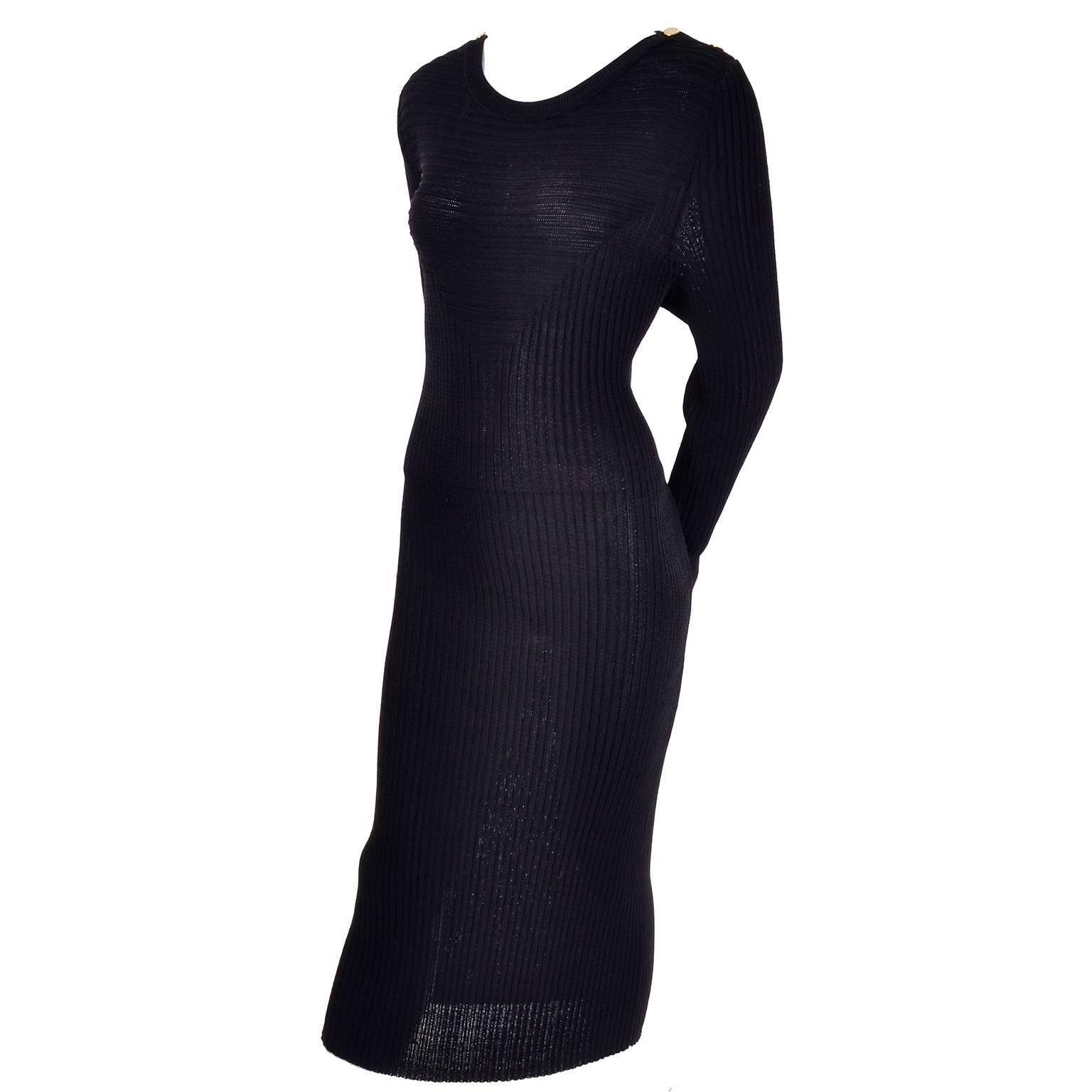 1980s Yves Saint Laurent Vintage Bodycon Black Knit Dress