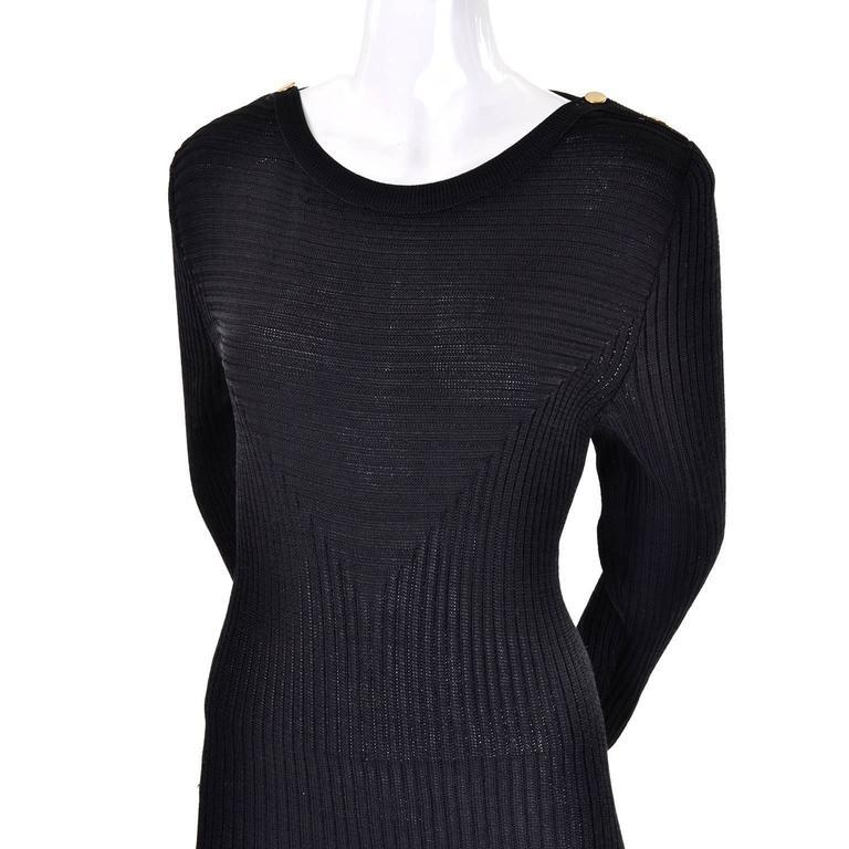 1980s Yves Saint Laurent Vintage Bodycon Black Knit Dress For Sale 2