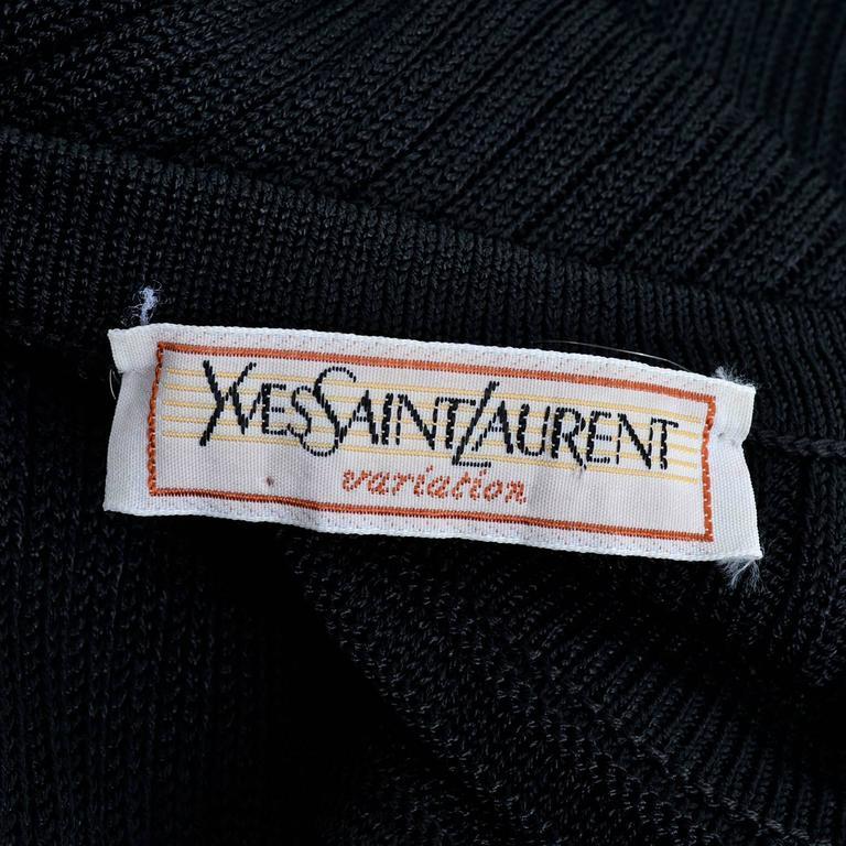 1980s Yves Saint Laurent Vintage Bodycon Black Knit Dress 7