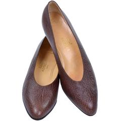 1970s Hermes Vintage Pumps Brown Leather Shoes in Size 39