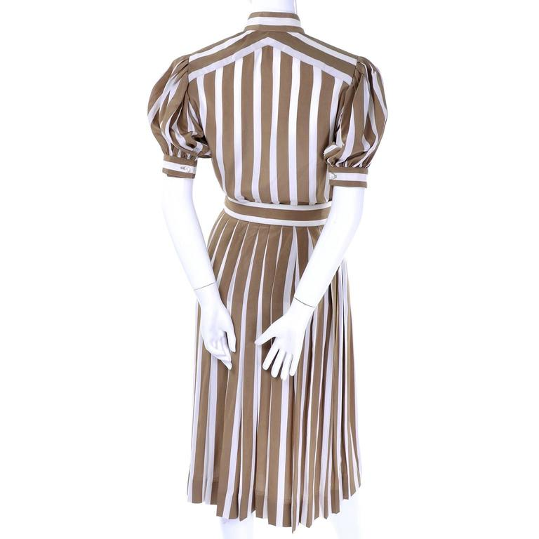 Women's Albert Nipon Silk Striped Vintage 2 pc. Dress With Bow For Sale