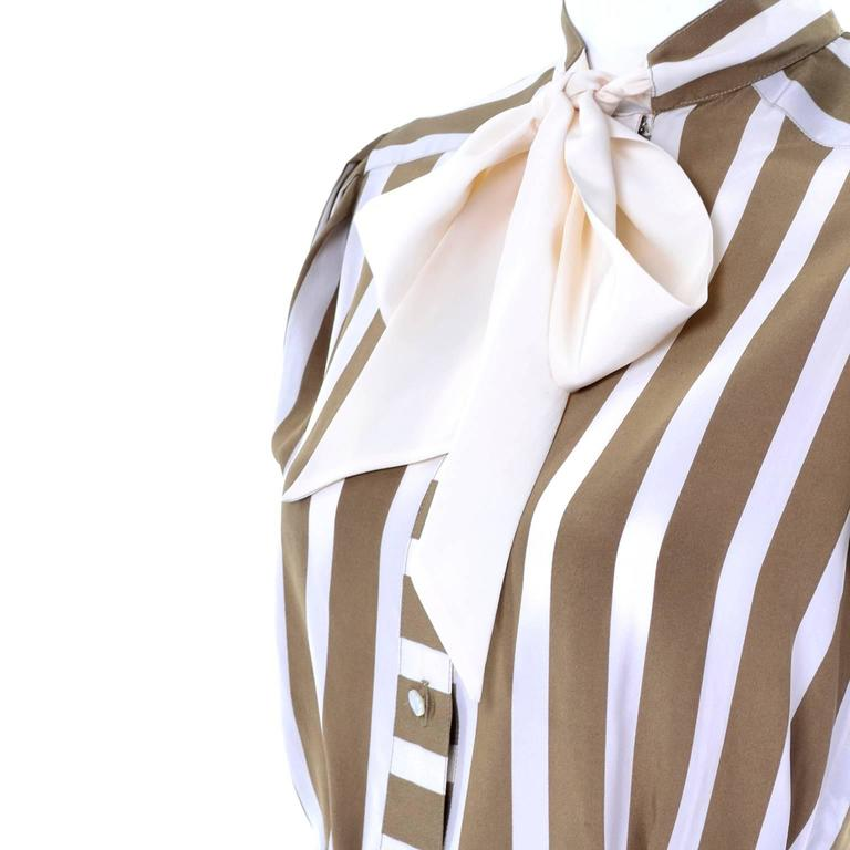 Brown Albert Nipon Silk Striped Vintage 2 pc. Dress With Bow For Sale