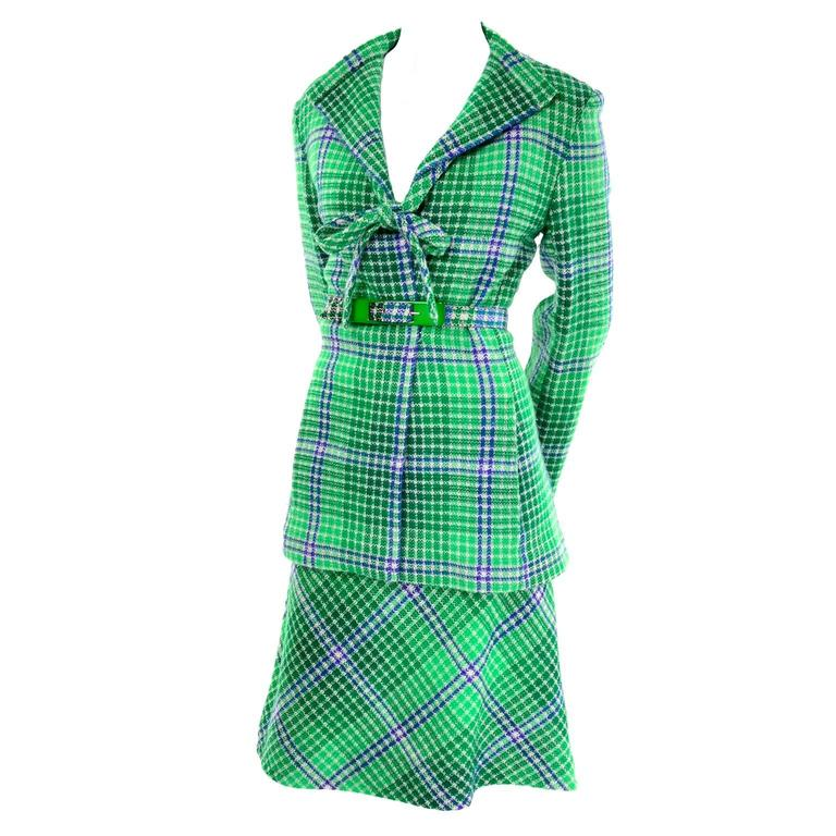 Rare 1970s Missoni Vintage Green & Blue Plaid Skirt and Jacket Fall Suit