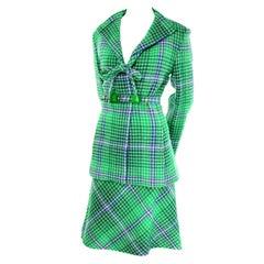 Rare 1970s Missoni Vintage Green & Blue Plaid Skirt and Jacket Fall Suit