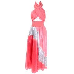Vintage Donna Karan Metallic Organza Exotic Evening Skirt Wrap