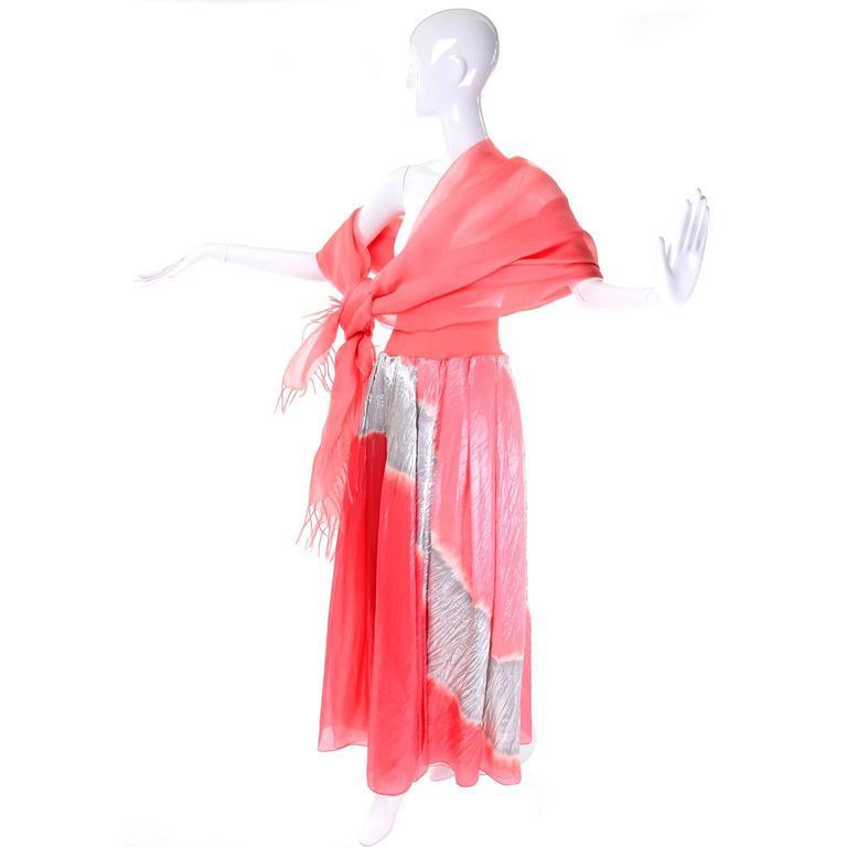 Vintage Donna Karan Metallic Organza Exotic Evening Skirt Wrap 3
