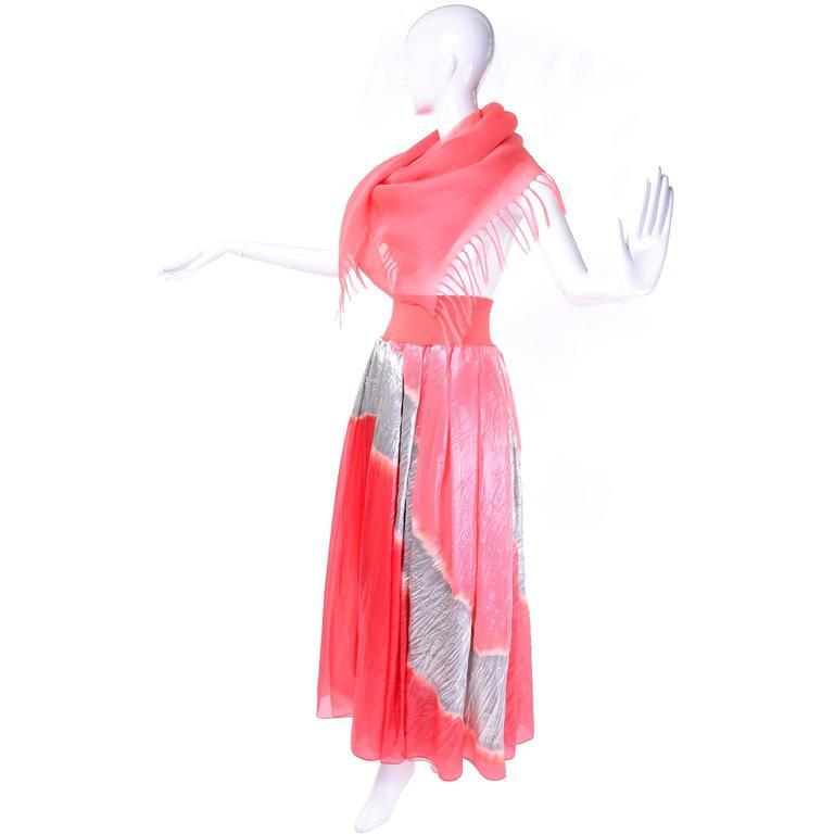 Vintage Donna Karan Metallic Organza Exotic Evening Skirt Wrap For Sale 1