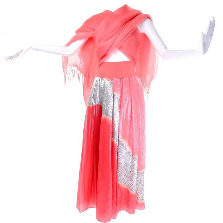 Vintage Donna Karan Metallic Organza Exotic Evening Skirt Wrap 4