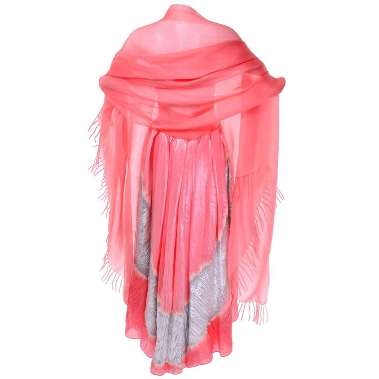 Vintage Donna Karan Metallic Organza Exotic Evening Skirt Wrap 5