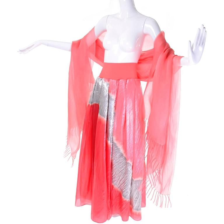 Vintage Donna Karan Metallic Organza Exotic Evening Skirt Wrap 7