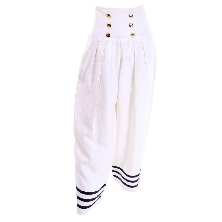Albert Nipon Boutique Vintage Linen High Waisted Wide Leg Pants Navy Blue Trim