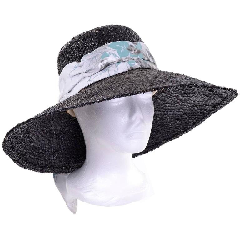 Women's Mr Blackwell Rare Mid Century Vintage Painted Black Straw Wide Brim Hat For Sale