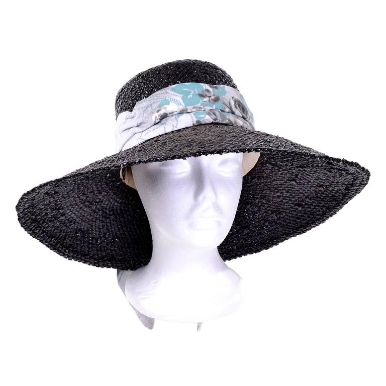Mr Blackwell Rare Mid Century Vintage Painted Black Straw Wide Brim Hat For Sale 1