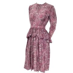 1940s Vintage Silk Dress in Rose Mauve Toile Novelty Print with Peplum