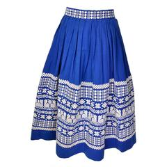 1950s Pelux Guatemala Vintage Folk Blue Skirt Handwoven with White Embroidery