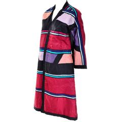 Mid Century Vintage Patchwork Satin Reversible Colorful Art Coat