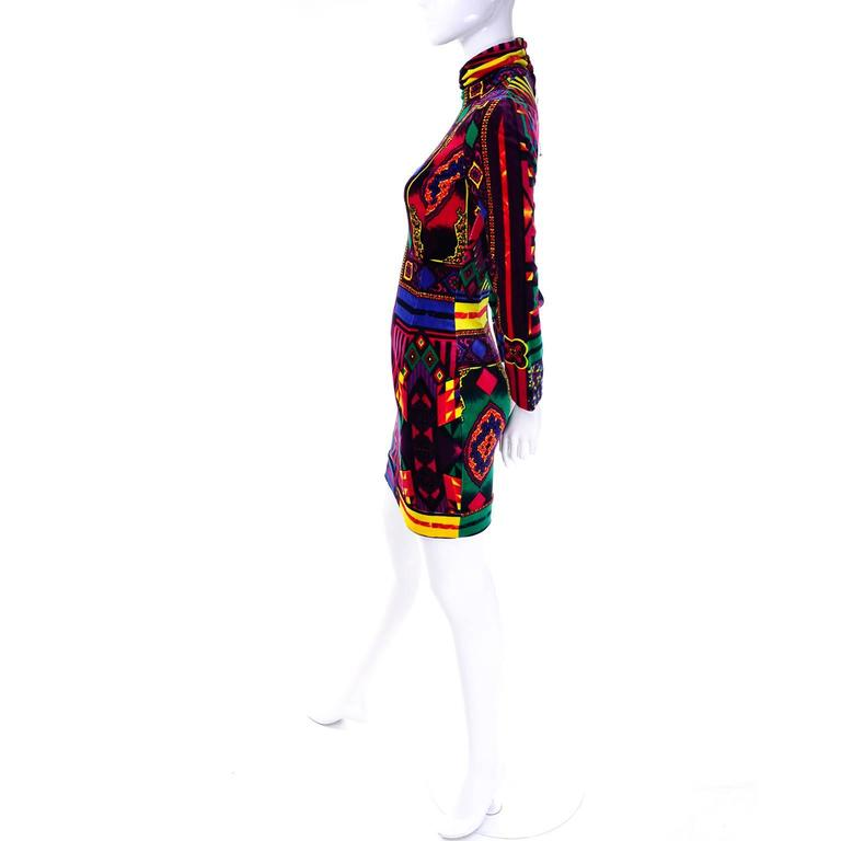 New 1990s Gianni Versace Vintage Dress in Bold Abstract Pattern Velvet w/ tag 5