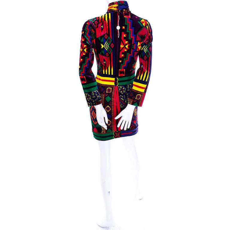 New 1990s Gianni Versace Vintage Dress in Bold Abstract Pattern Velvet w/ tag For Sale 1