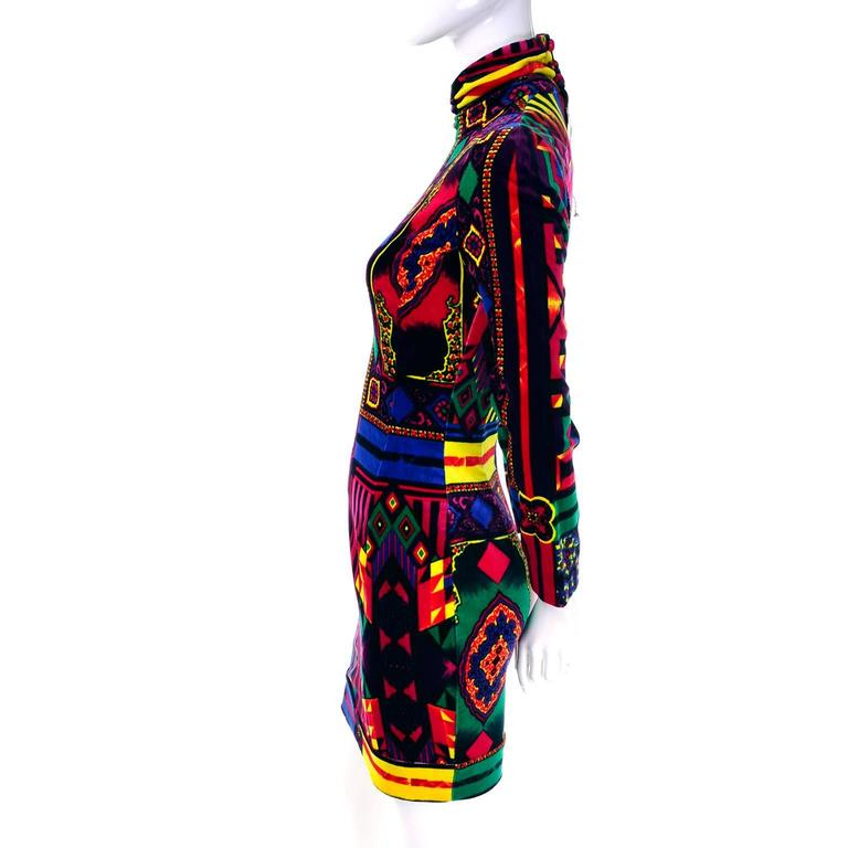 New 1990s Gianni Versace Vintage Dress in Bold Abstract Pattern Velvet w/ tag For Sale 2