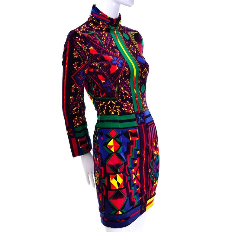 New 1990s Gianni Versace Vintage Dress in Bold Abstract Pattern Velvet w/ tag 4