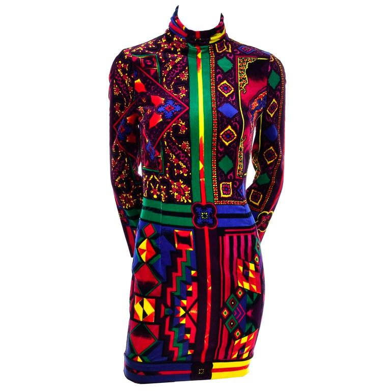 New 1990s Gianni Versace Vintage Dress in Bold Abstract Pattern Velvet w/ tag 1