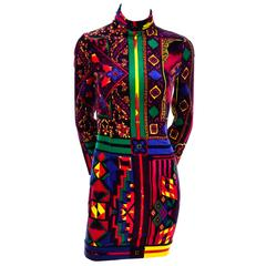 New 1990s Gianni Versace Vintage Dress in Bold Abstract Pattern Velvet w/ tag
