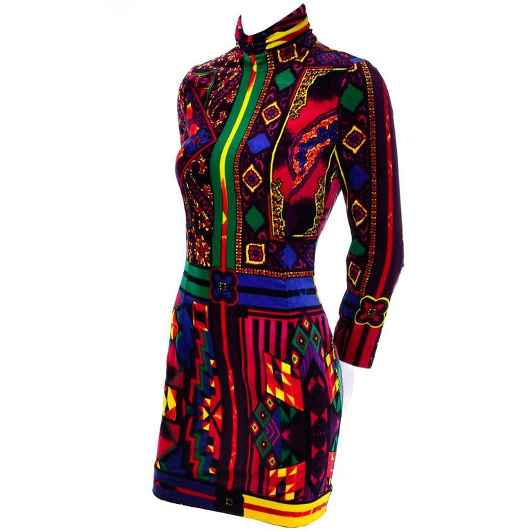 New 1990s Gianni Versace Vintage Dress in Bold Abstract Pattern Velvet w/ tag 2