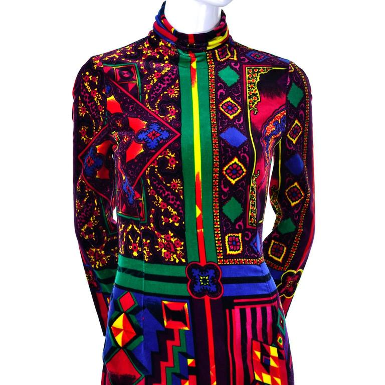 New 1990s Gianni Versace Vintage Dress in Bold Abstract Pattern Velvet w/ tag 3
