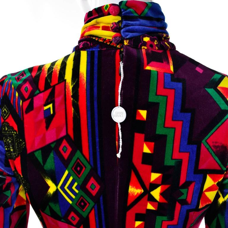 New 1990s Gianni Versace Vintage Dress in Bold Abstract Pattern Velvet w/ tag For Sale 3
